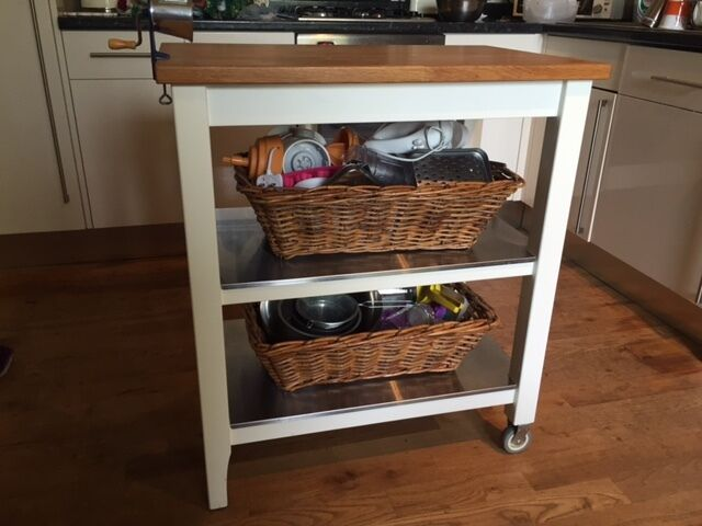 Awesome IKEA STENSTORP White Kitchen Island Kitchen Trolley With Wicker Storage  Baskets Images