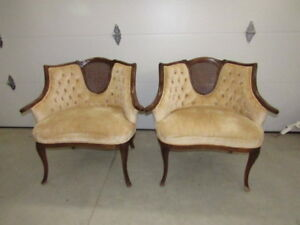 Elegant Pair Vintage Gold Crushed Velvet French Provincial Cane Chairs