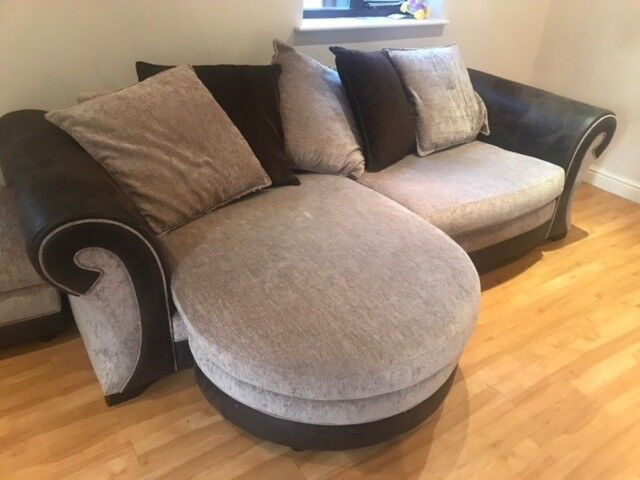 DFS 4 Seater Sofa, Large 2 Seater Cuddle Swivel Chair And 2 X Footstool