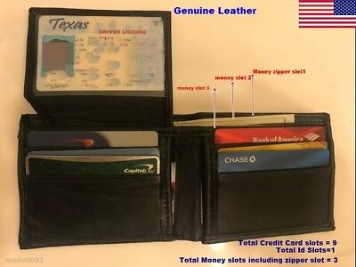 Bifold Wallet Mens Genuine Cow Leather Black Credit Id Card Holder Slim Purse 3