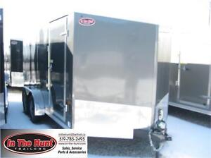 7x14 V-nose Tandem Axle Enclosed Trailer with rear ramp door