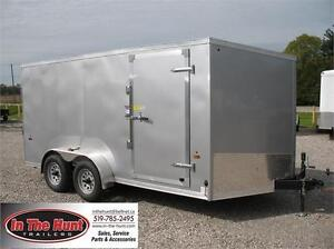 7x14 Haulin V-nose Enclosed Trailer with rear ramp
