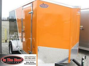 6x12 V-nose Enclosed Trailer with rear ramp door