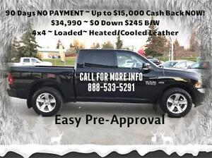 2014 Ram 1500 Sport 4x4 ~ Loaded ~ Sunroof ~ Nav ~ $245 B/W