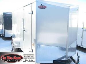 6x12 V-Nose Enclosed Trailer with rear ramp and cargo package