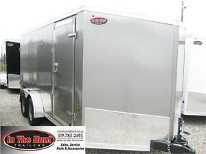 7x16 Haulin V-nose Enclosed trailer with rear barn doors