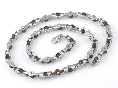 Chaine Collier Bijou Homme Ado Acier Massif Style Chaine Velo Noir Neuf 334
