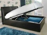 Stylish King size Ottoman Storage Bed with 10 inch Deep Quilt Mattress Same\Next Day Delivery