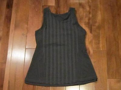LULULEMON GET FIT TANK IN DEEP GREY AND WHITE STRIPE SIZE 6 OPEN BACK