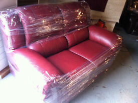 EX-DISPLAY high back very comfy & heavy burgundy leather 2 seater