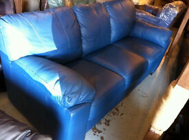 Italian high grade Teal leather 3 seater