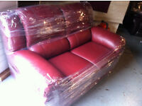 Burgundy Leather 2 seater