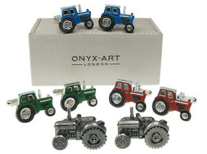 Farm-Tractor-Cufflinks-Red-Blue-Green-or-Silver-Farming-Farmer-In-Gift-Box