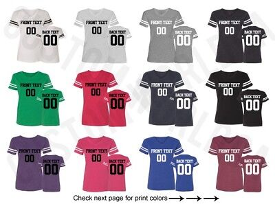 Customized Text Name Number Football JERSEY Team Shirt Personalized Ladies VNeck