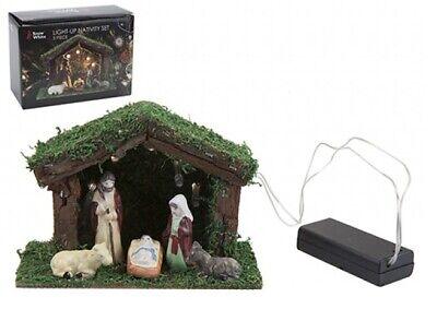 LED Light Up Nativity Christmas Display Set/Scene With Stable 5 Porcelain Figure