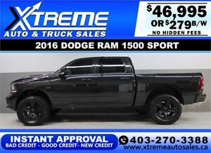 2016 DODGE RAM SPORT LIFTED *INSTANT APPROVAL* $0 DOWN $279/BW