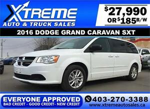 2016 Dodge Grand Caravan SXT $185 bi-weekly APPLY NOW DRIVE NOW