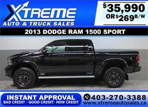 2013 DODGE RAM SPORT LIFTED *INSTANT APPROVAL*  $0 DOWN $269/BW!
