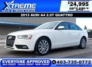 2013 Audi A4 2.0T Quattro $149 BI-WEEKLY APPLY NOW DRIVE NOW
