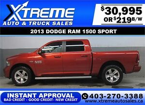 2013 DODGE RAM SPORT CREW *INSTANT APPROVAL* $0 DOWN $219/BW
