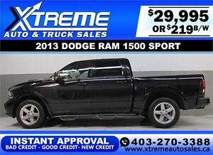 2013 DODGE RAM SPORT CREW **INSTANT APPROVAL** $0 DOWN $219/BW!