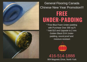 Free Blue Foam Underlayment with Purchase of Flooring Material!