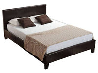 """Leather bedframe 4ft6""""double"""