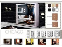 🌟 Beautiful Amazing CHICAGO sliding door mirrored wardrobe in many options with Express Delivery 🚚