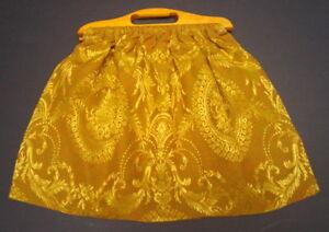 Vintage Gold Brocade Knitting / Yarn / Sewing Basket Caddy