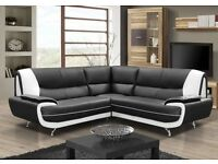 Brand new leather corner sofa black, brown
