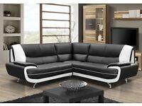 Retro faux leather corner sofa 3&2 black/white and brown/cream