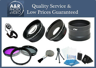 2x Telephoto 0.45x Wide Angle Lens Kit Canon Xf205 Xf200 Xf105 Xf100 Xa25 Xa20