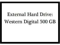 Portable External Hard Drive (HDD): WD Elements 500 GB