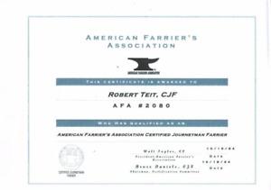 Robert Teit    Jouneyman Certified  Farrier