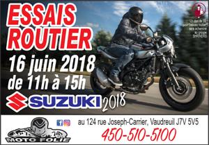 SUZUKI GSXR1000 ESSAI ROUTIER LE SAMEDI 16 JUIN 2018