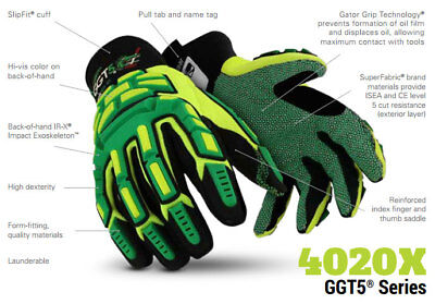 New Pair Gloves Hex Armor Ggt5 Gator Grip Size 7s Impact Super Fabric Oilgas