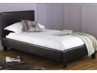 CHEAPEST IN THE UK SINGLE LEATHER BED WITH SEMI ORTHOPAEDIC MATTRESS DOUBLE KING SIZE FRAME