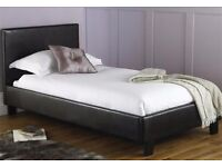 SINGLE LEATHER BED AND ROYAL FULL ORTHOPAEDIC MATTRESS - BRAND NEW - EXPRESS DELIVERY