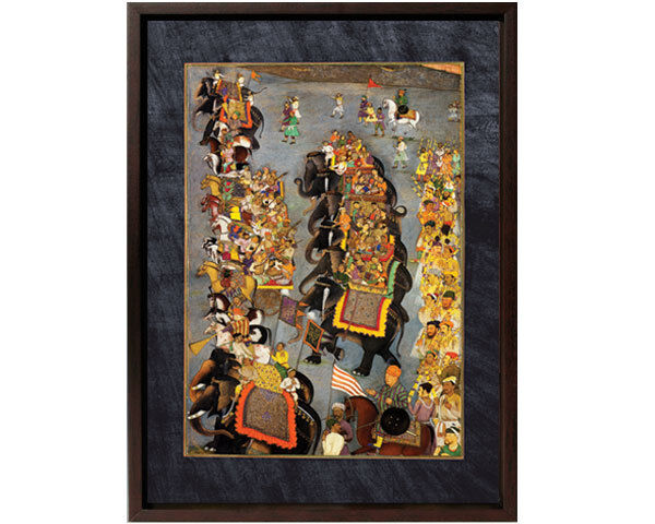 Framed Canvas: Delivery of Presents. LEFT Panel. Elephant-12x15 -Mughal Art