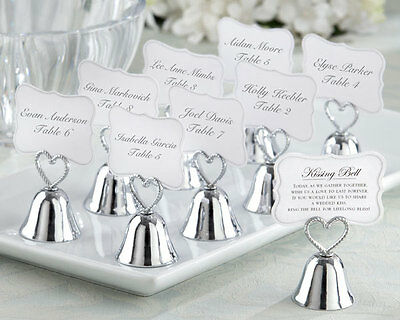 96 Silver Kissing Bell Wedding Place Card Photo Holder With Braided Heart Handle