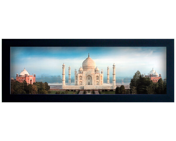 Framed Canvas: 18x7 Contemporary Panoramic View of Taj Mahal -Islamic Art/Decor