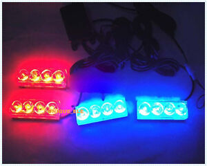 16 Red and Blue Generation LED Grille Warning Flash Strobe Lights/Lamps Blocks