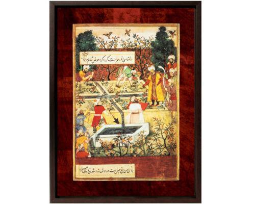 Framed Canvas: Babar Garden Right Panel -12x15 -Mughal/Islamic Art/Gift @Ramadan