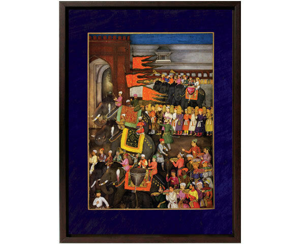 Framed Canvas:Dara Shikoh Wedding.LEFT Panel.Musicians on Elephant-12x15 -Mughal