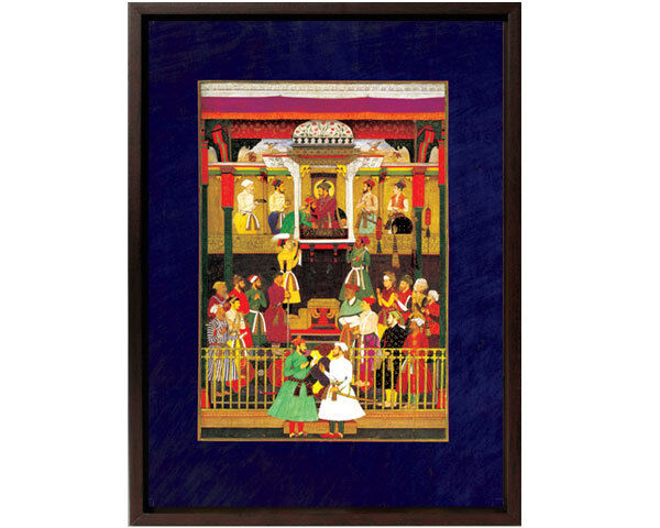 Framed Canvas: Prince Awrangzeb's Arival at Lahore Court 1640 -12x15 -Mughal Art