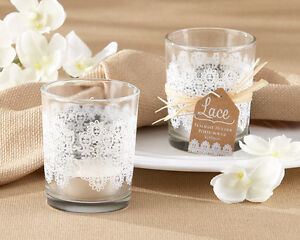 96-Lace-Frosted-Glass-Tealight-Holder-Candle-Wedding-Bridal-Shower-Party-Favor