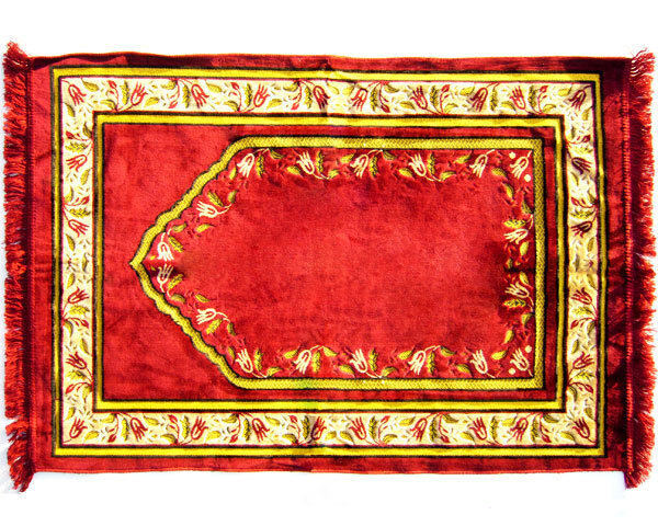 JUMBO TURKISH Personal Prayer Rug. Superior Quality. BURGANDY RED COLOR.-Ramadan