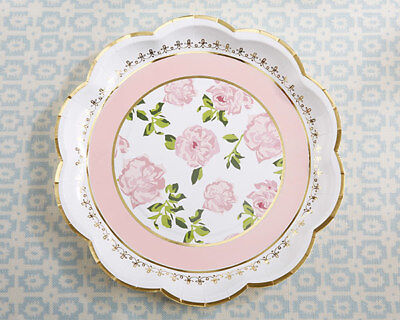Bridal Shower Paper (8 Pink Gold Floral Paper Plates for Baby Shower Bridal Shower)