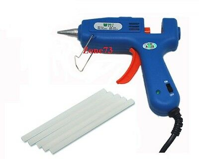 Best 20w HOT Melt GLUE GUN + 5 GLUE STICKS Electric Heating New for arts (Best Hot Glue Gun Sticks)