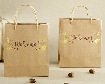 48 Gold Foil Fall Welcome Wedding Favor Bags